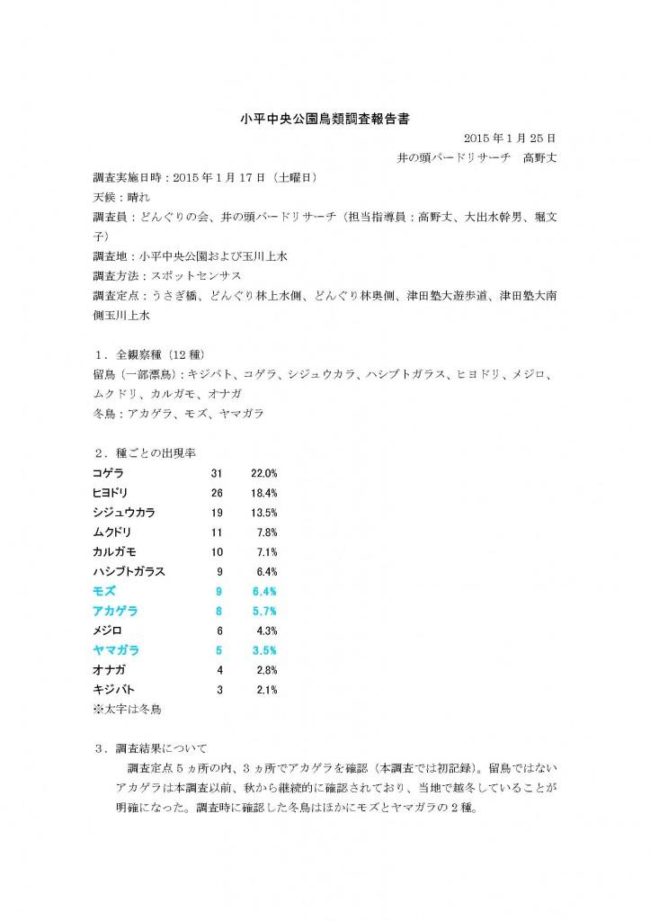 小平中央公園鳥類調査報告書2015冬
